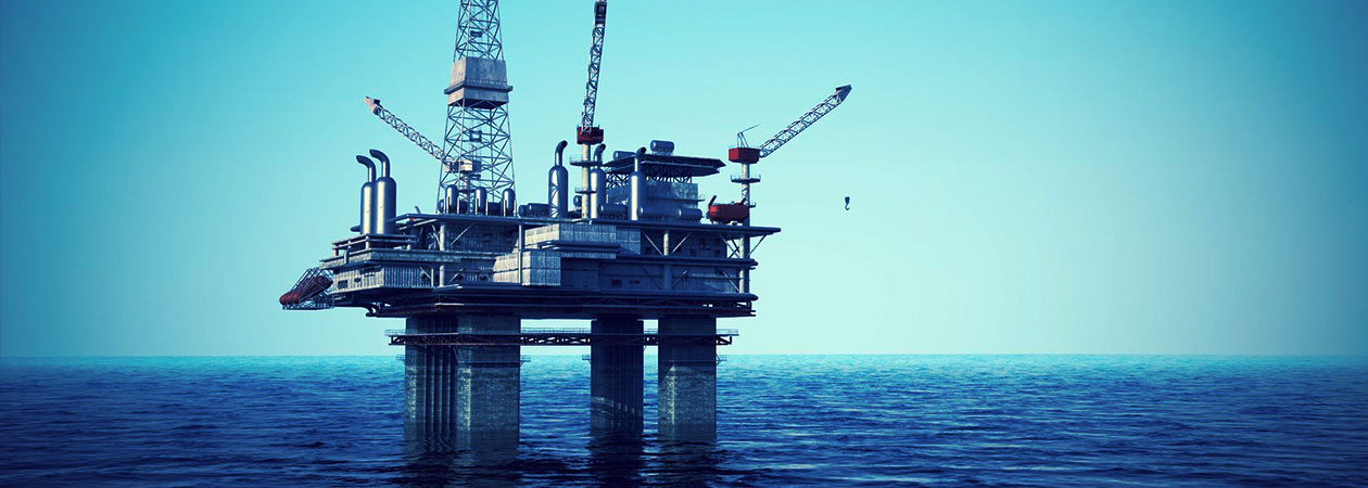 oil drilling platform at sea