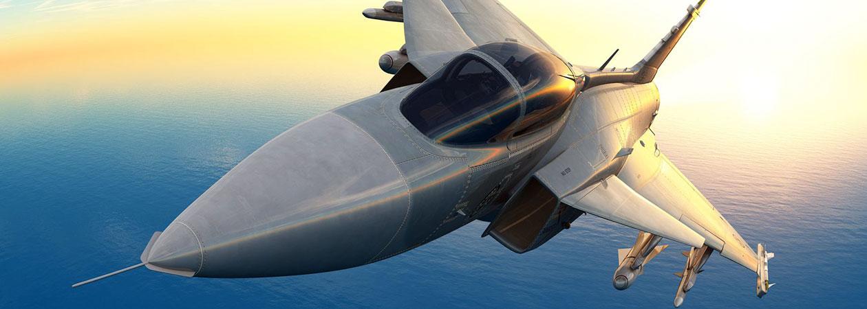 Eurofighter flying over the ocean